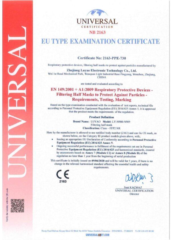 1 Stück FFP2 Maske, Atemschutzmaske, Partikelfiltermaske, EU CE Zertifiziert CE 2163, WEIß 3