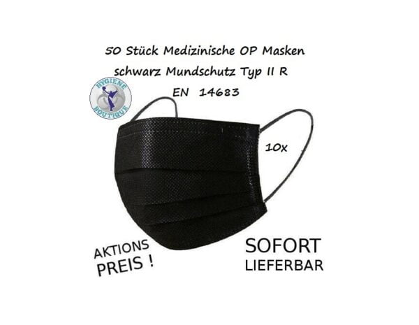 10 Stück Medizinische OP Masken schwarz Mundschutz Typ IIR / 2R EN 14683 1