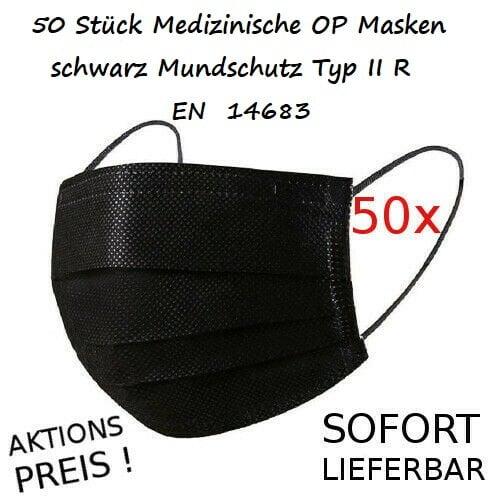 50 Stück Medizinische OP Masken schwarz Mundschutz Typ IIR / 2R EN 14683  (Stk/0,70€) 1