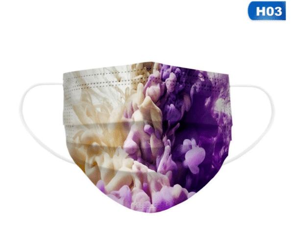 5 Stück Mundschutz - Farbenspiel Designdruck Nasenschutz Atemschutz Einweg 3-lagig 1