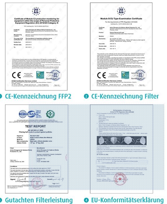1 x FFP2 NR Schutzmaske, Dunkelblau, 5-lagig, Atemschutzmaske CE 2834 3