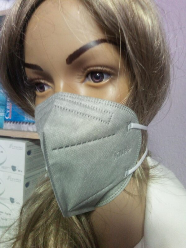 3er Pack KN95 Schutzmaske, grau, 5-lagig, Einweg-Atemschutzmaske (FFP2 Standard) 2