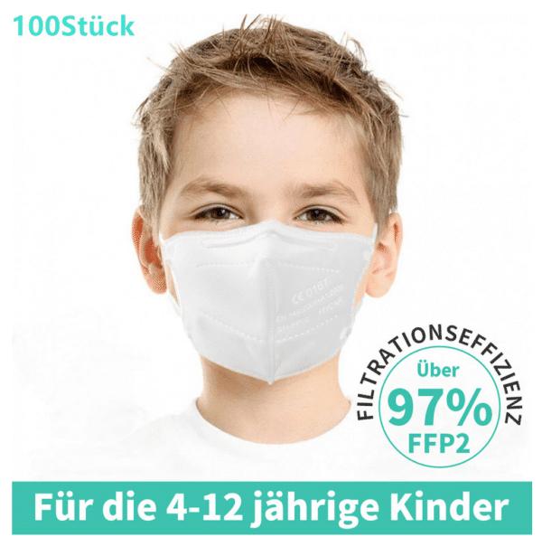 10er Box FFP2 KINDER Maske, Atemschutzmaske, Partikelfiltermaske, EU CE Zertifiziert CE 0161 WEIß 1