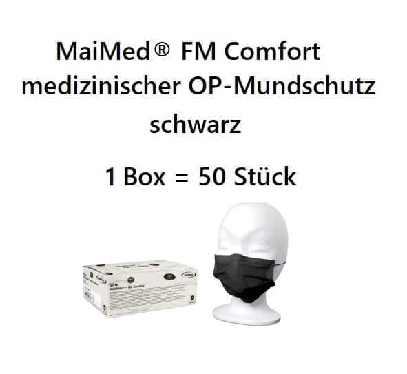 10 Stück  MaiMed® FM Comfort medizinischer OP-Mundschutz, schwarz, CE EN14683, Typ II 1