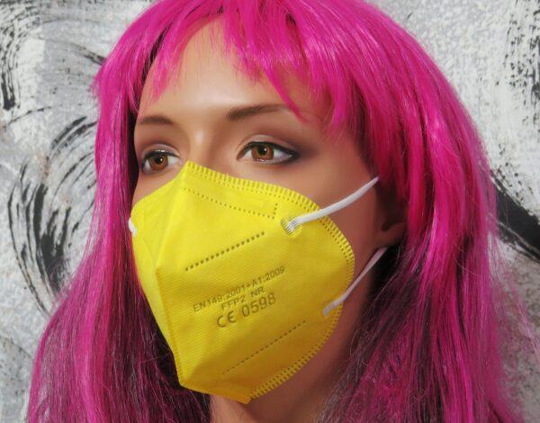 1 x FFP2 Schutzmaske, leuchtend GELB, 5-lagig, Atemschutzmaske - CE 0598 1