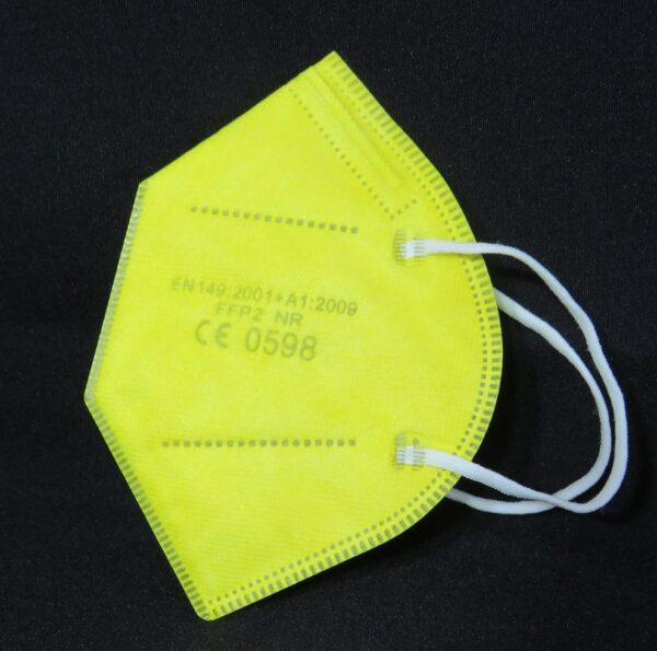 1 x FFP2 Schutzmaske, leuchtend GELB, 5-lagig, Atemschutzmaske - CE 0598 2