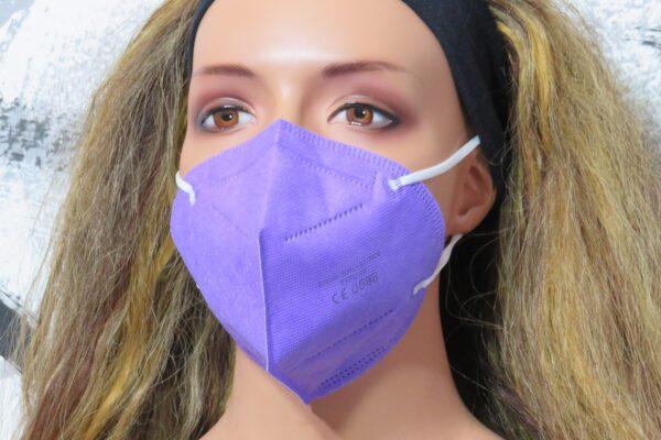 1 x FFP2 Schutzmaske, Lavendel, 5-lagig, Atemschutzmaske - CE 0598 1