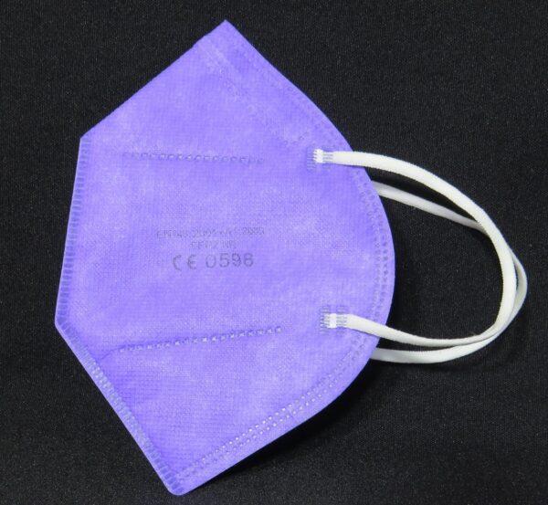 1 x FFP2 Schutzmaske, Lavendel, 5-lagig, Atemschutzmaske - CE 0598 3