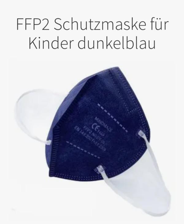 1x FFP2 KINDER Maske, dunkelblau, 5-Lagig, CE 1463 1