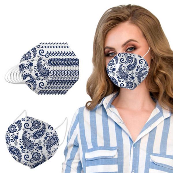 1 Stück KN95 Schutzmaske (FFP2 Standard), blau/weiß Design 5-lagig, Atemschutzmaske 1