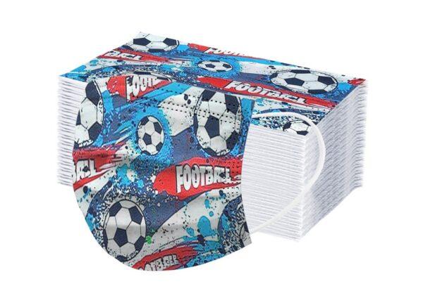 """5 x Design Kinder Mundschutz """"Fußball ⚽"""" Atemschutz Einweg 3 lagig 1"""
