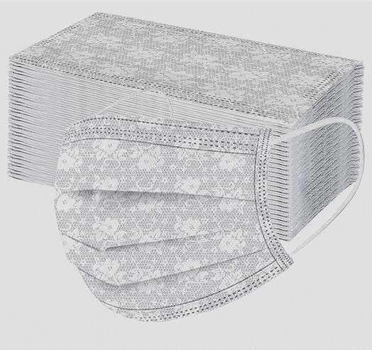 5 Stück Mundschutz - hellbeige mit weißem Blumen Designdruck Nasenschutz Atemschutz Einweg 3-lagig 1