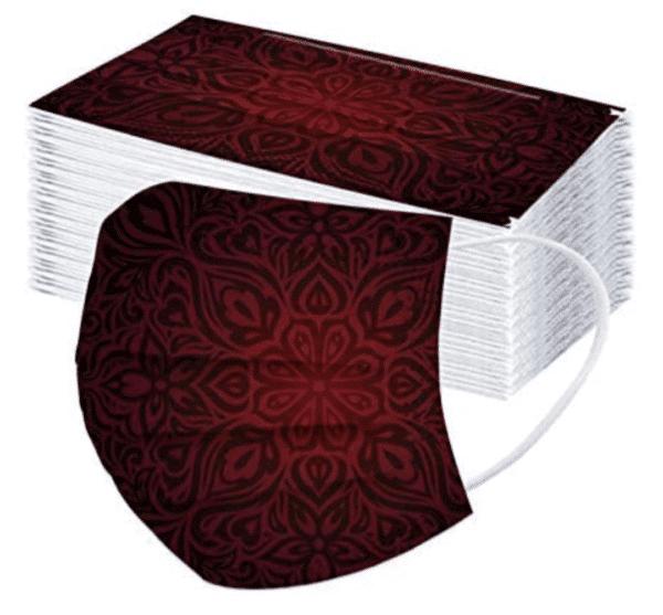 5 Stück OP Mundschutz - Designdruck - Gothic - schwarz/rot Nasenschutz Einweg 3-lagig 1