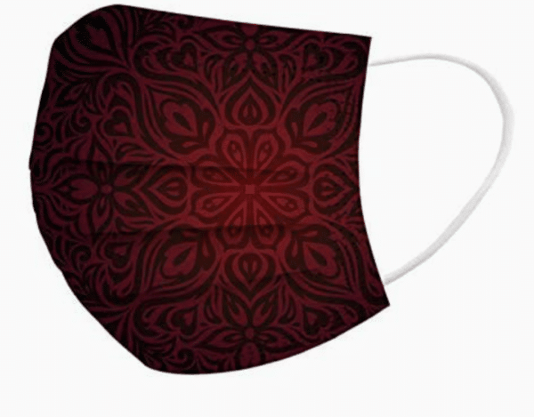 5 Stück OP Mundschutz - Designdruck - Gothic - schwarz/rot Nasenschutz Einweg 3-lagig 2