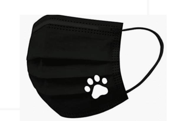 5 Stück Mundschutz - schwarz mit weißer Pfote Einweg 3-lagig 3