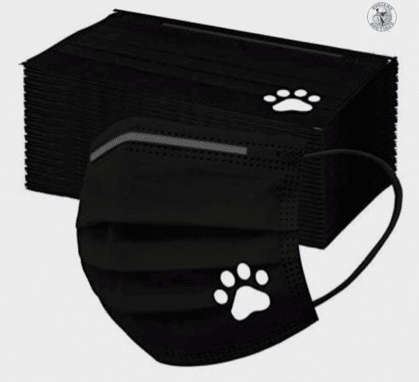 5 Stück Mundschutz - schwarz mit weißer Pfote Einweg 3-lagig 2